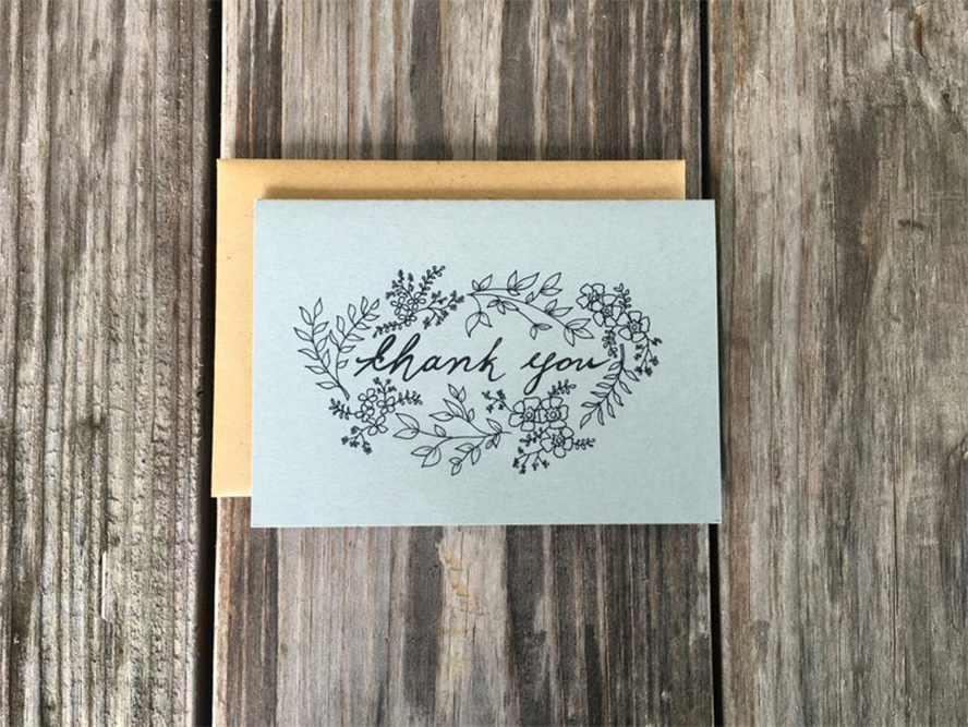 Styling line art thank you card with floral print
