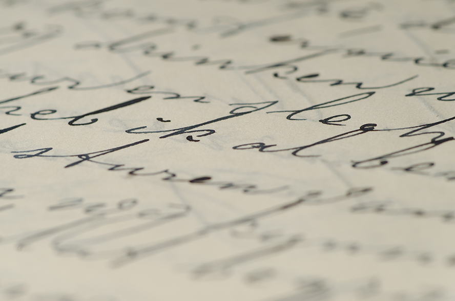 Extreme close up of handwriting.