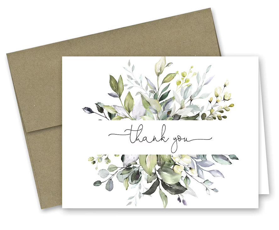 A floral patterned thank you card.