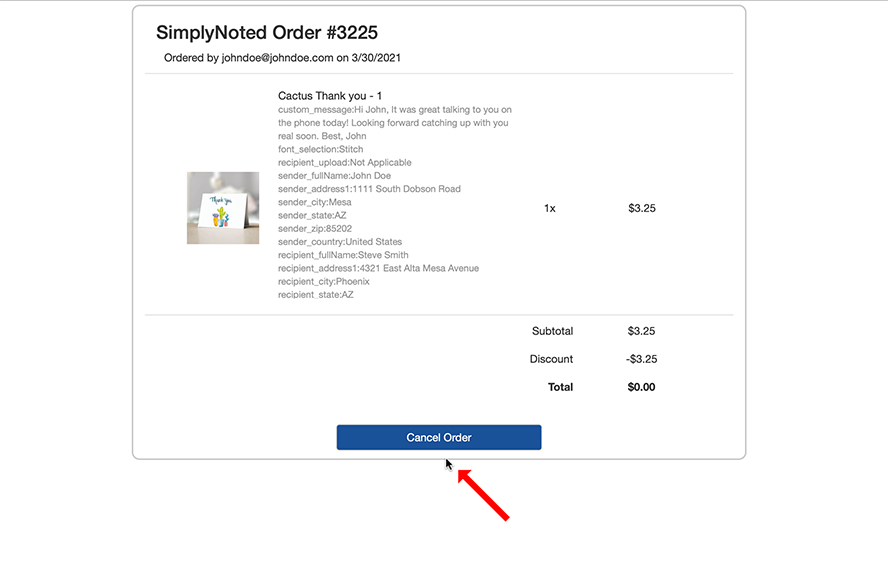The order summary, showing the details of your order.