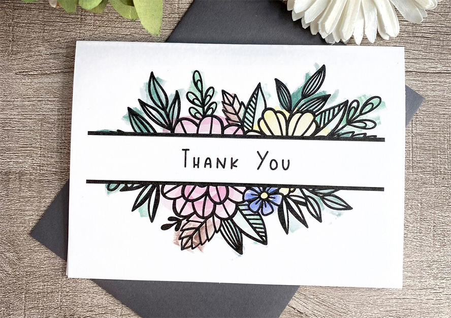Floral thank you card design.