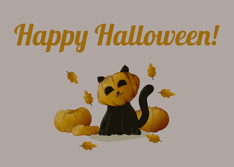 A cat wearing a jack-o-lantern adorns this Happy Halloween card.