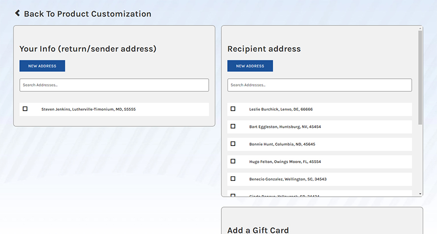 Adding addresses to a Simply Noted order.