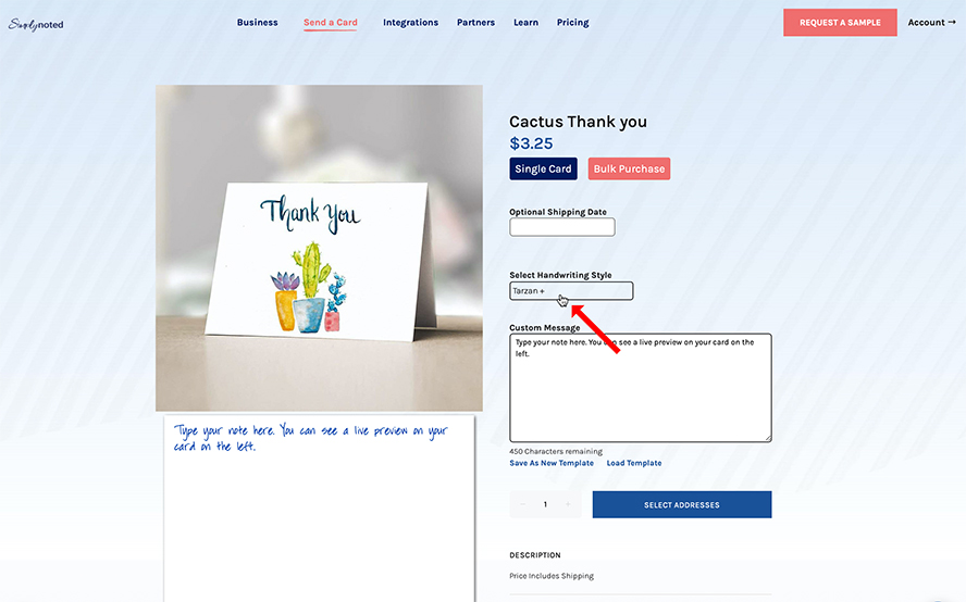 Adding a message to the a card in the Simply Noted interface.