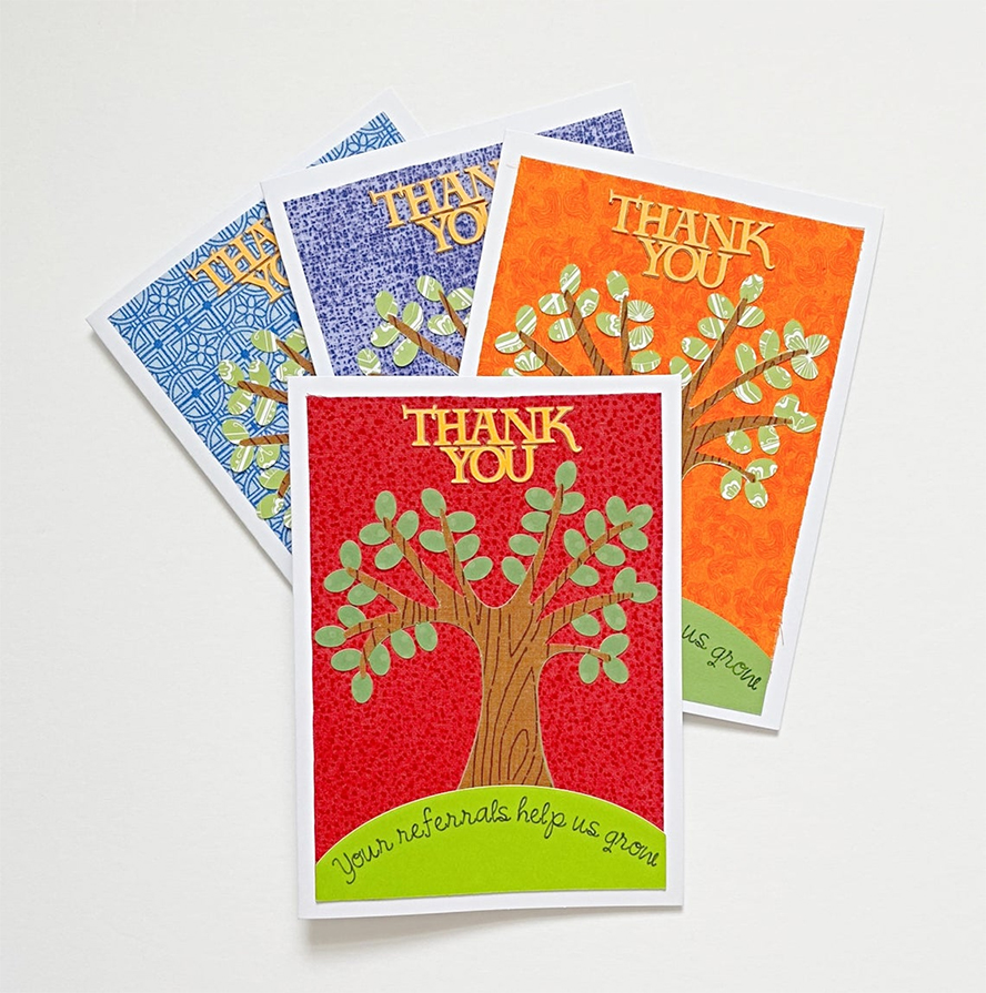 A second grouping of insurance-related thank you cards.
