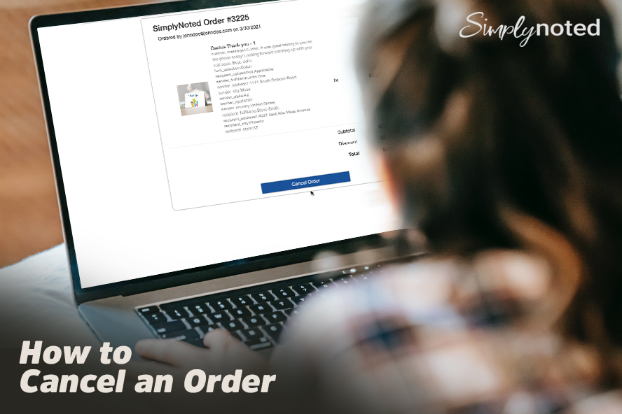"""Image of a person canceling an order with the headline """"How to Cancel an Order"""""""