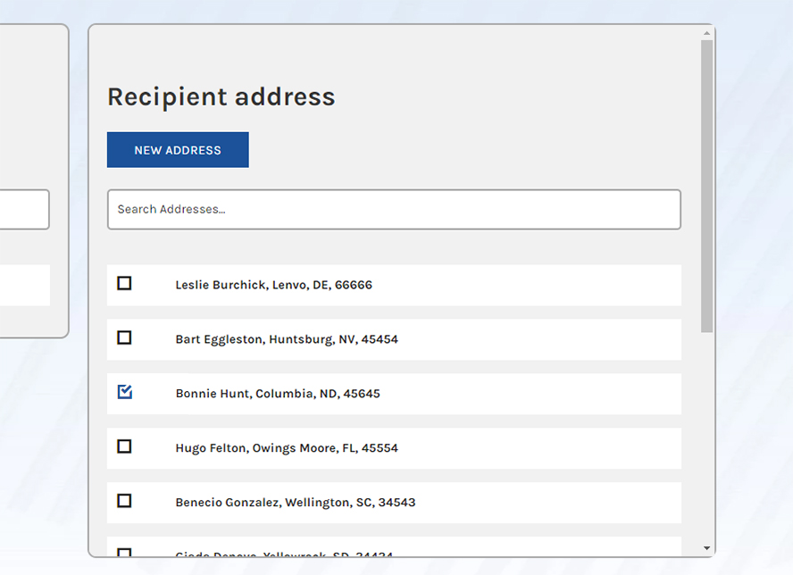 Close up of selecting an address