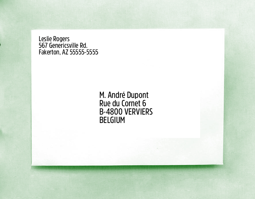 And now an example of a foreign address.