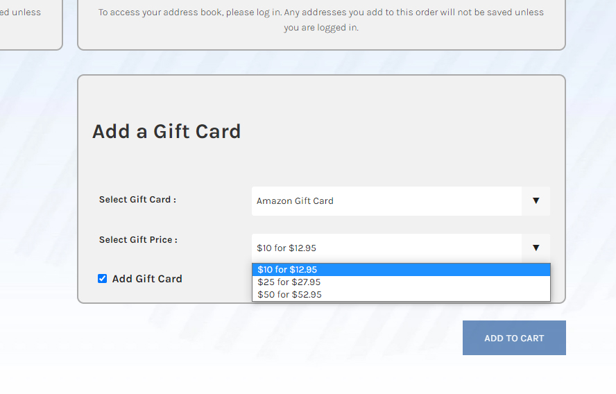 After choosing an Amazon gift card, we now see someone choosing the face value of the card.