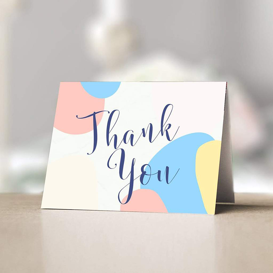 Thank you card with colorful dots