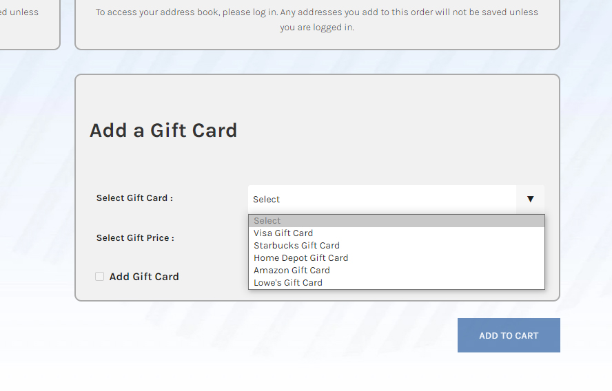 Selecting the type of gift card you want in the Simply Noted interface.