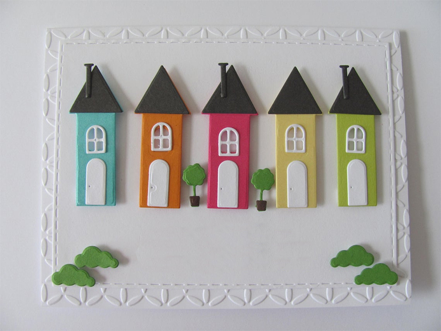 Rows of decorative houses on a card.