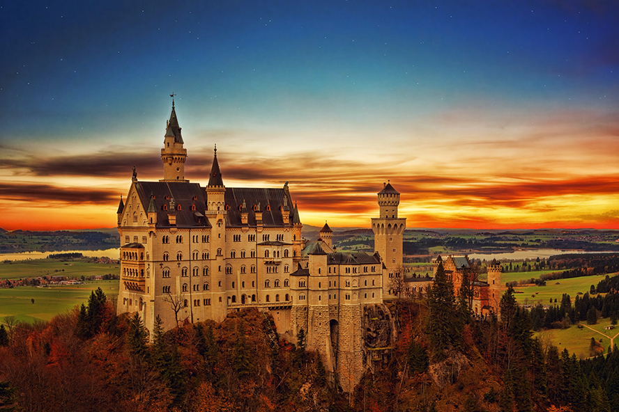 A massive castle on a hill in Germany.