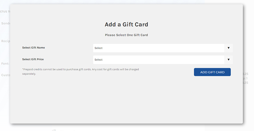 """The dialogue box that pops up when you click """"Add Gift Card"""" in the shopping cart."""