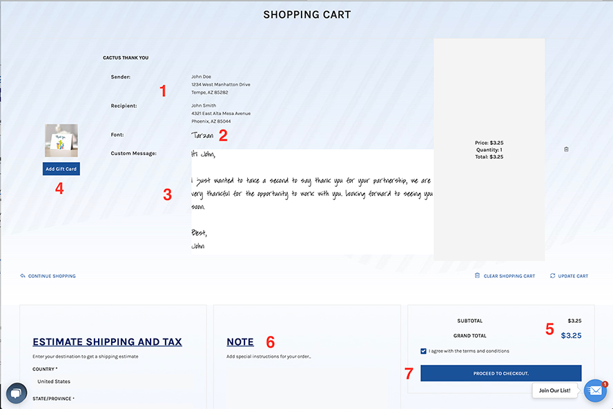 Simple Noted shopping cart page