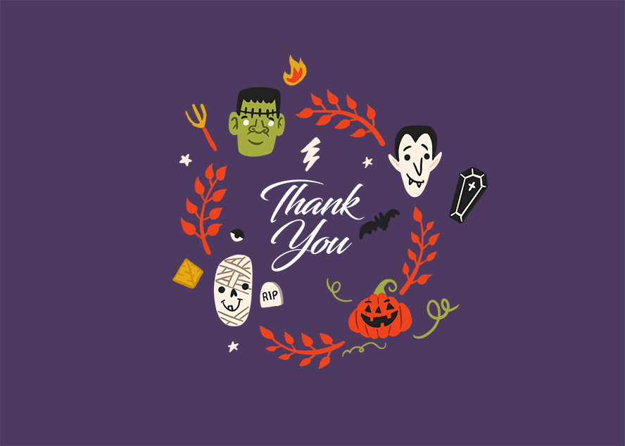 """Playful monster faces surround the words """"thank you"""" on this Halloween card."""