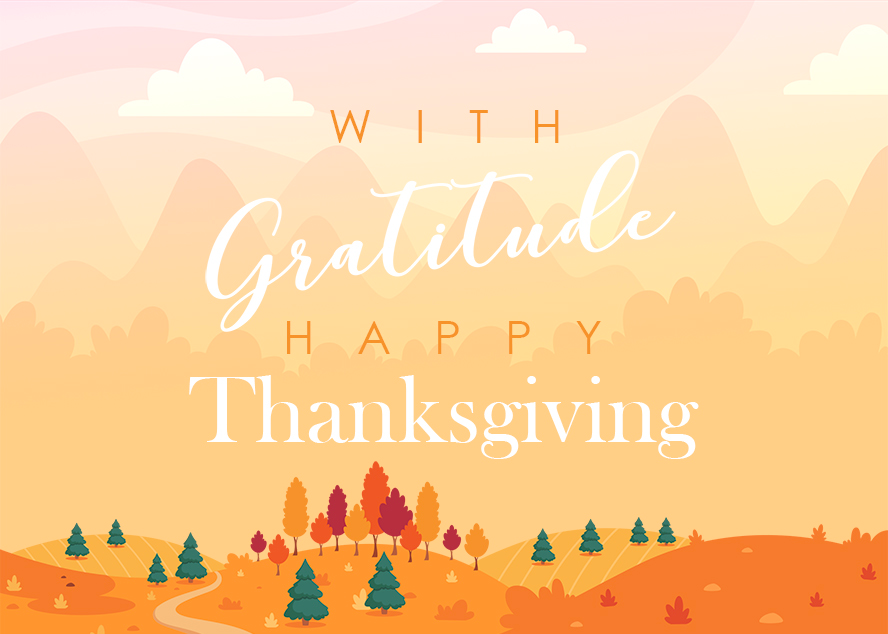 """This card has """"With Gratitude, Happy Thanksgiving"""" written over rolling hills."""