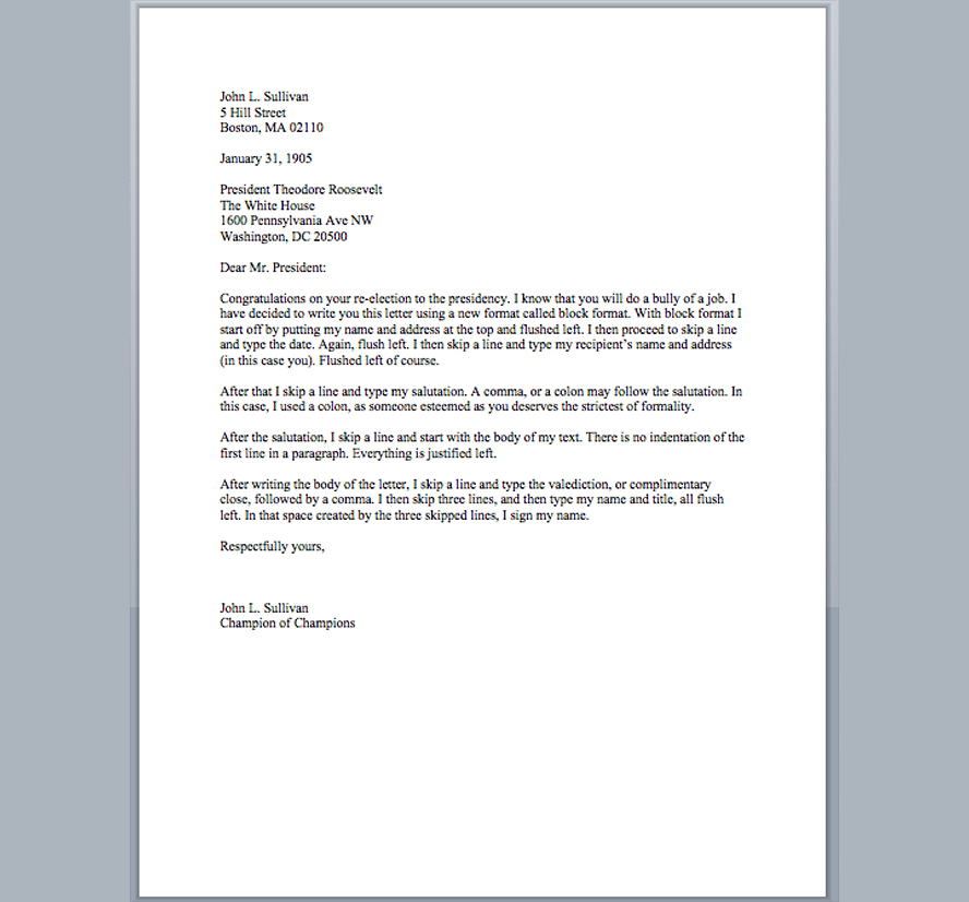A properly formatted letter.
