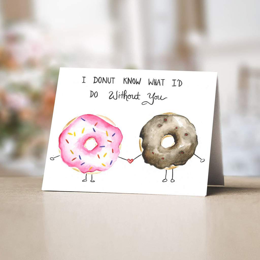 Thank you card with donuts holding hands
