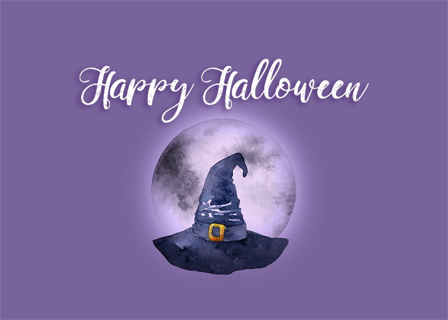 """A watercolor witches hat in front of the moon sit on this card, right below """"Happy Halloween""""."""