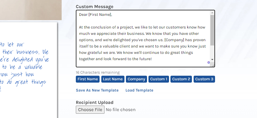 Close up of the message text with custom fields added.