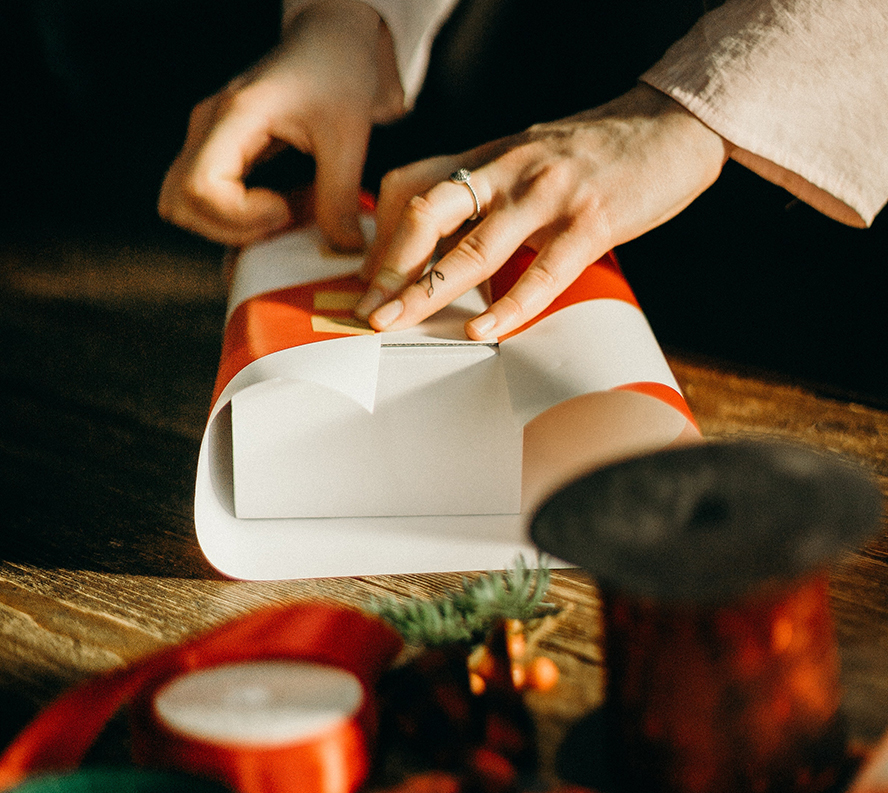 Wrapping a Christmas present