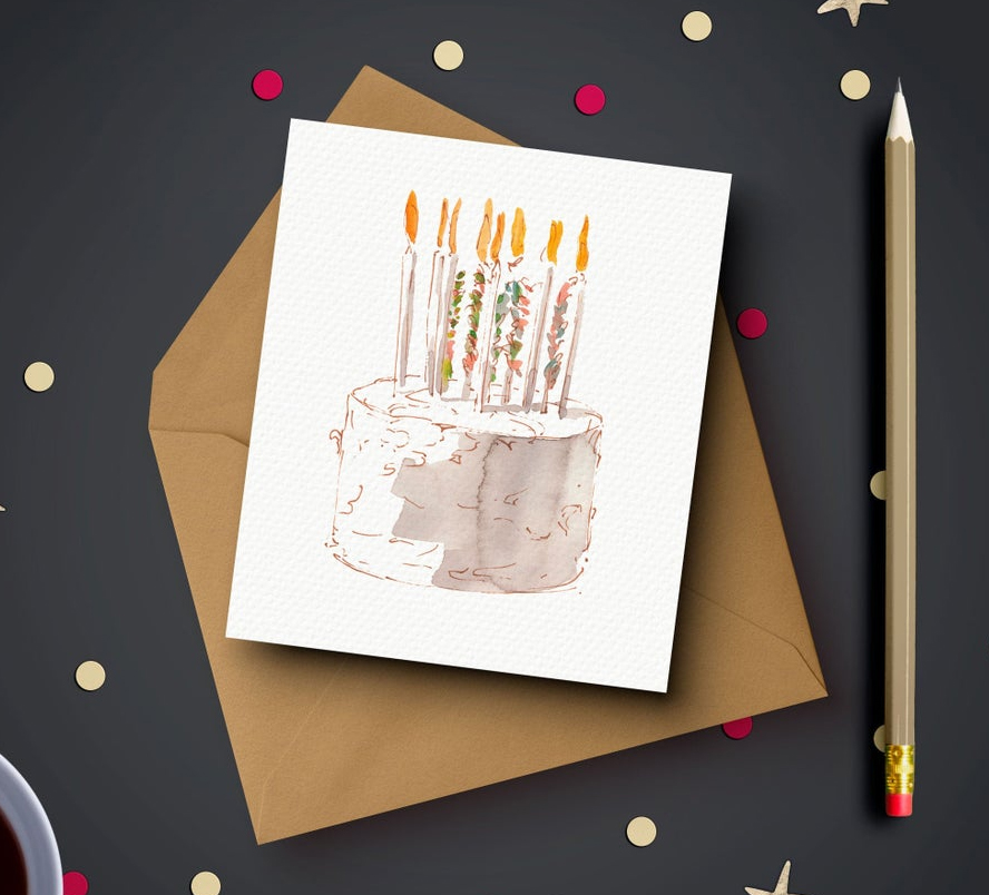 Attractive water color birthday card featuring the image of a birthday cake.