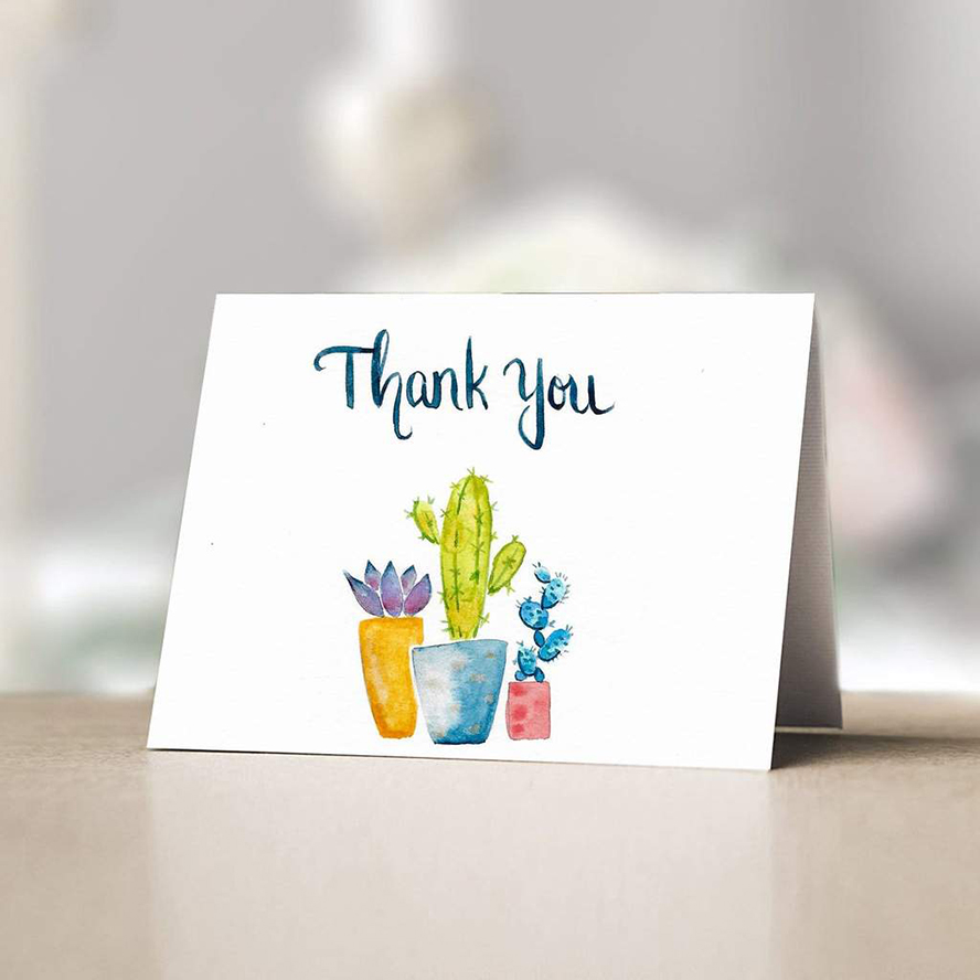 Thank you card with cactuses