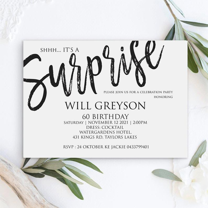A photo of a surprise party invitation.