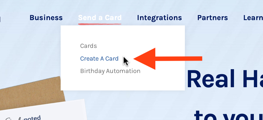 Close up on the Send a Card menu with an arrow pointing to Create a Card.