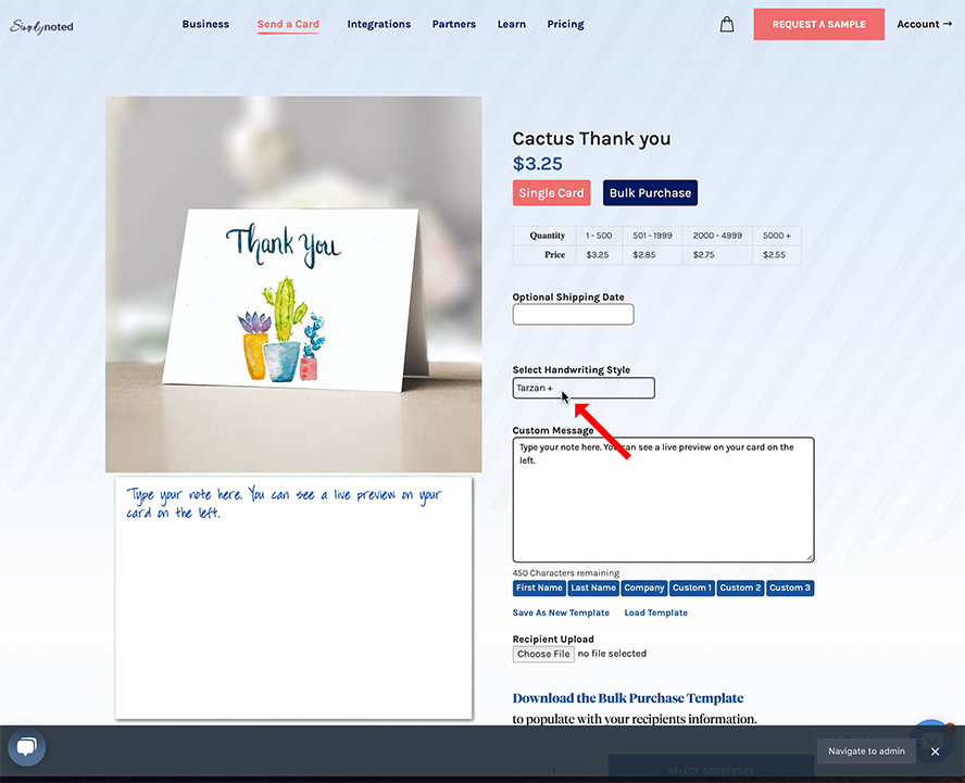 Widescreen shot of ordering page with an arrow pointing to the font style.