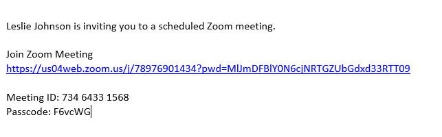 This is the information about your meeting.