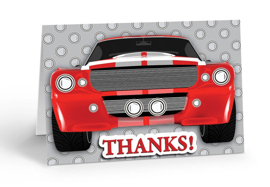 A thank you card featuring a large red car.