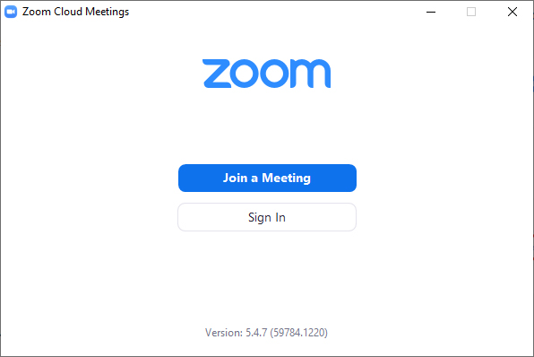 This is the Zoom opening screen.