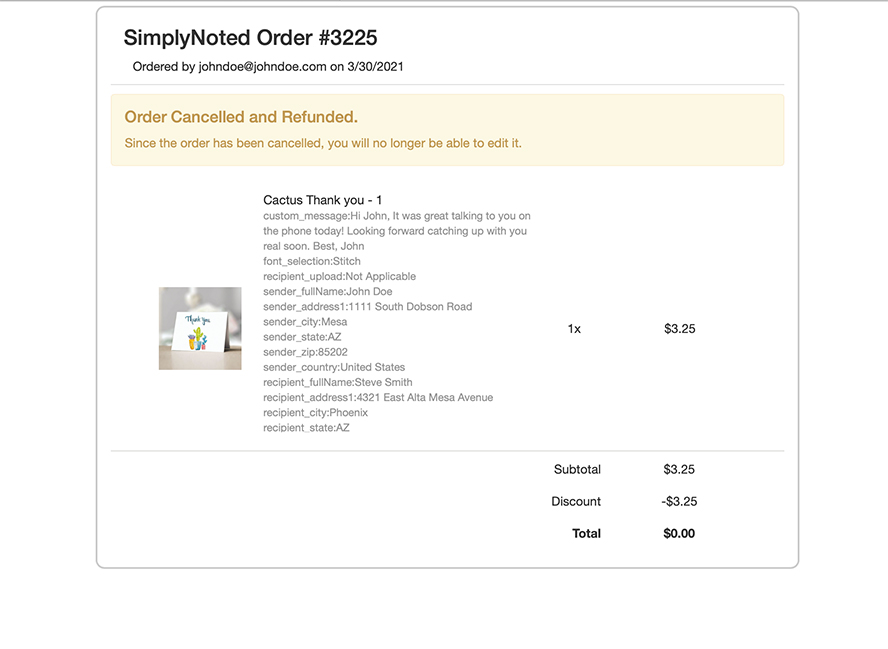This shows a confirmation at the top that the order has been canceled.