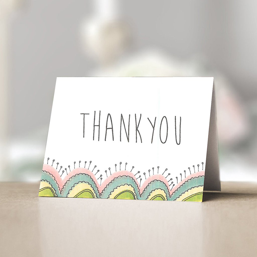 Thank you card with a cactus design