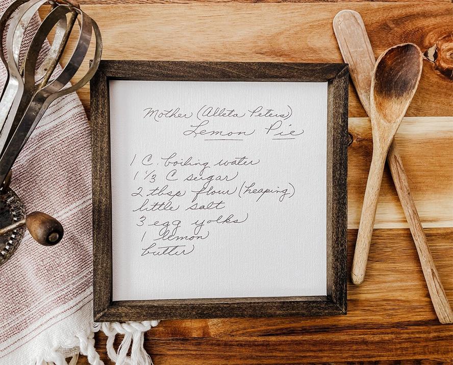 A handwritten lemon pie recipe.