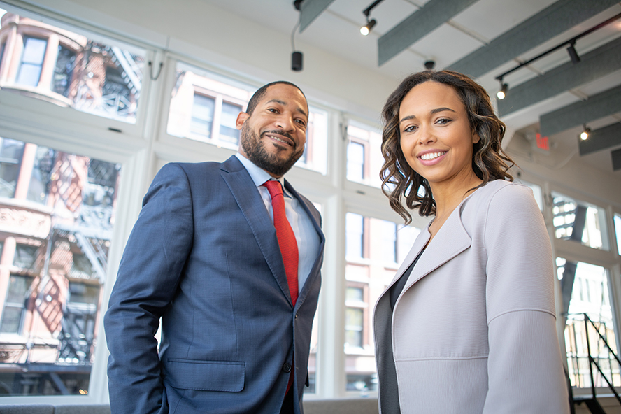 Male and female business owners.