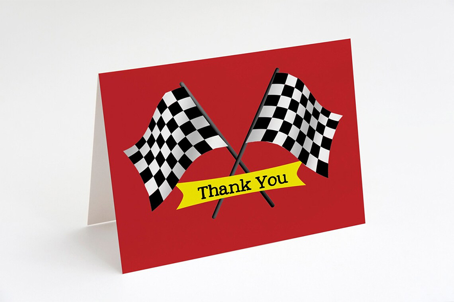 A thank you card with two checkered racing flags.