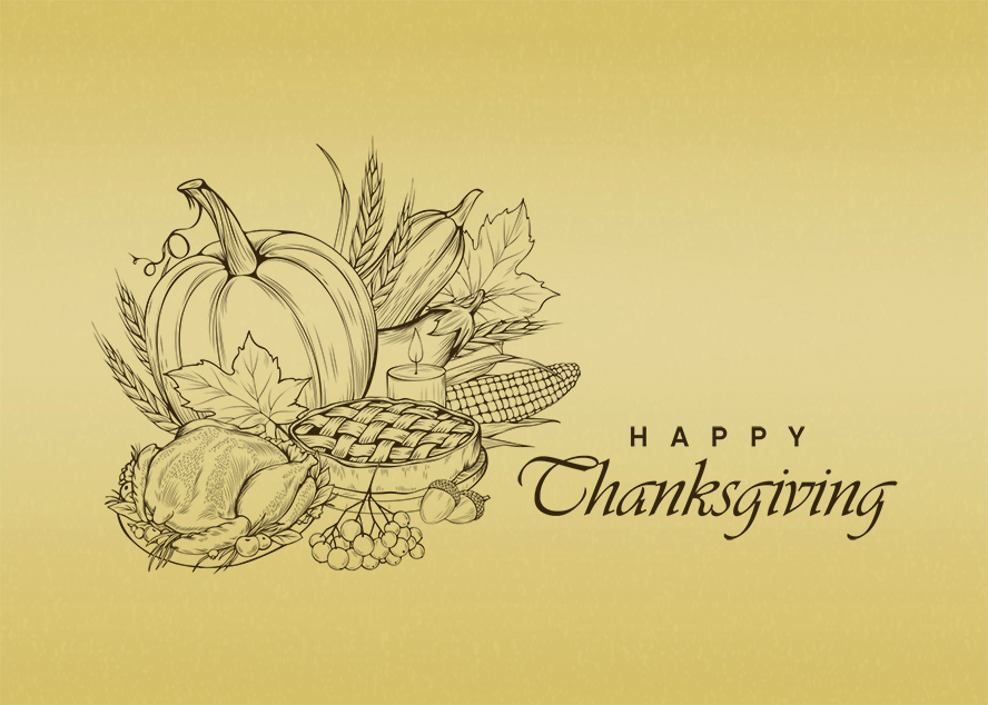 """A pen and ink drawing of Thanksgiving food paired with """"Happy Thanksgiving""""."""