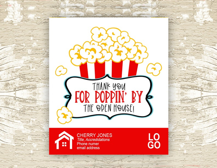 A card thanking people for coming to an open house.