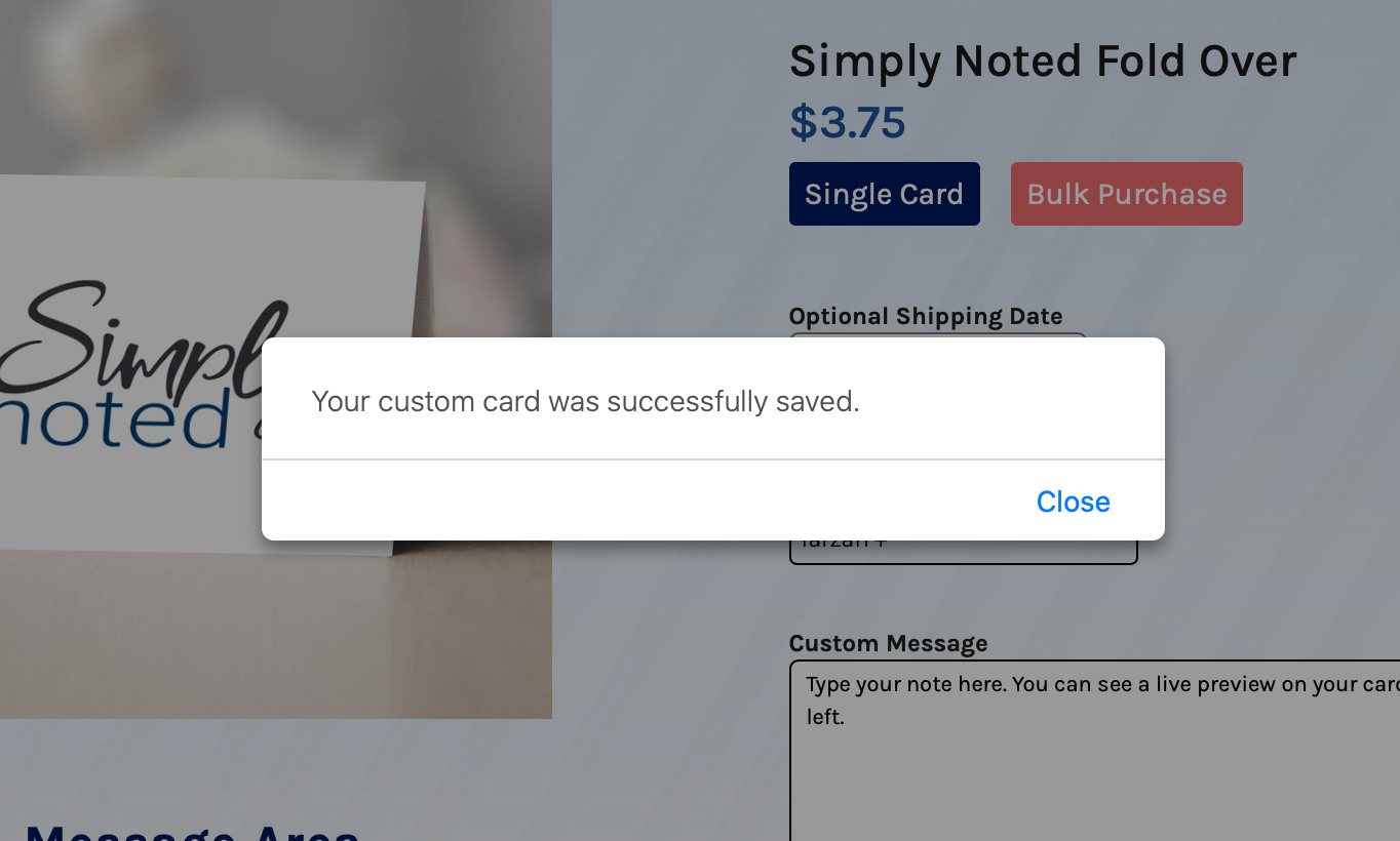 A close up of a dialogue box telling you that your card design was saved.
