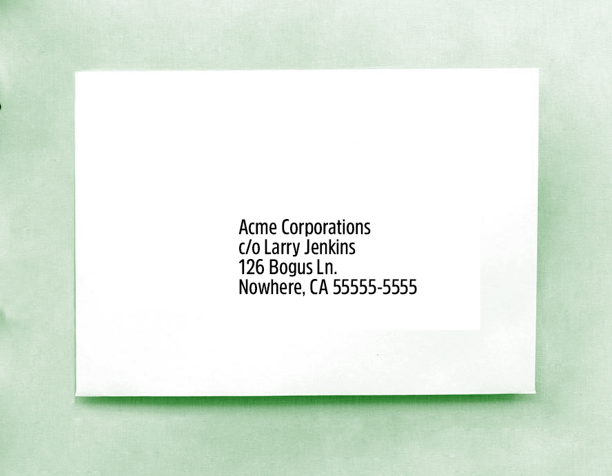 We see the recipients address alone in the center of the envelope.