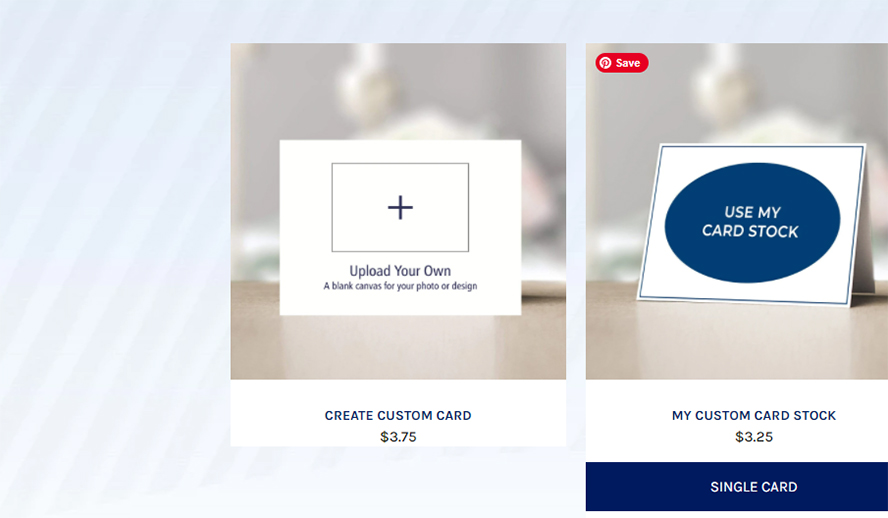 The Create Custom Card option from the main cards listing page.