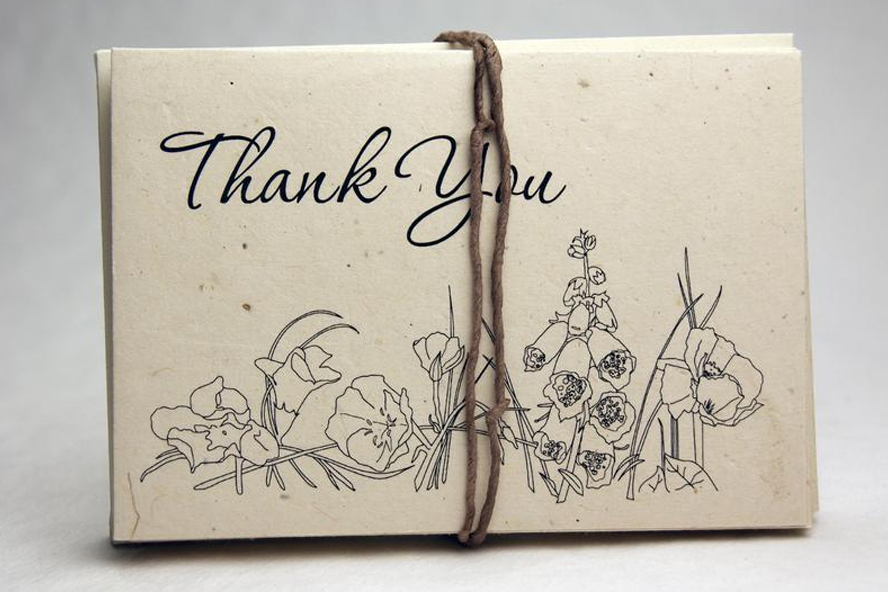 Lovely parchment thank you cards with a flower print.