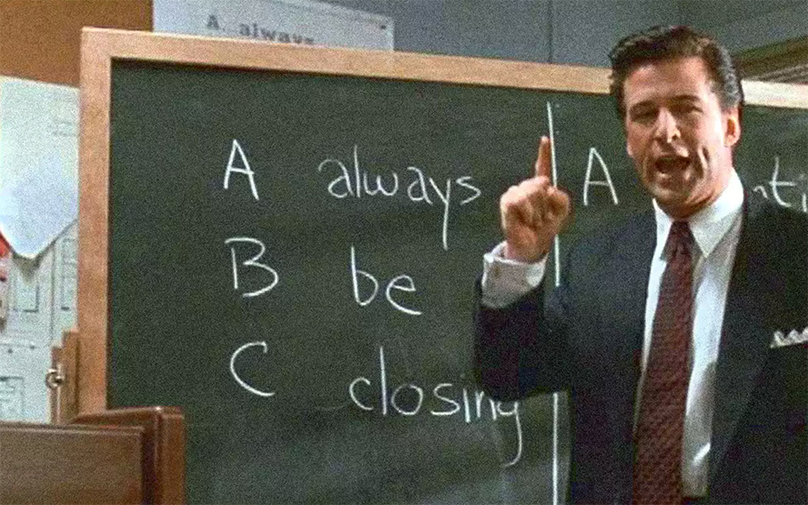 """A still from the scene in Glengarry Glen Ross where Alec Baldwin famously says, """"Always be closing."""""""
