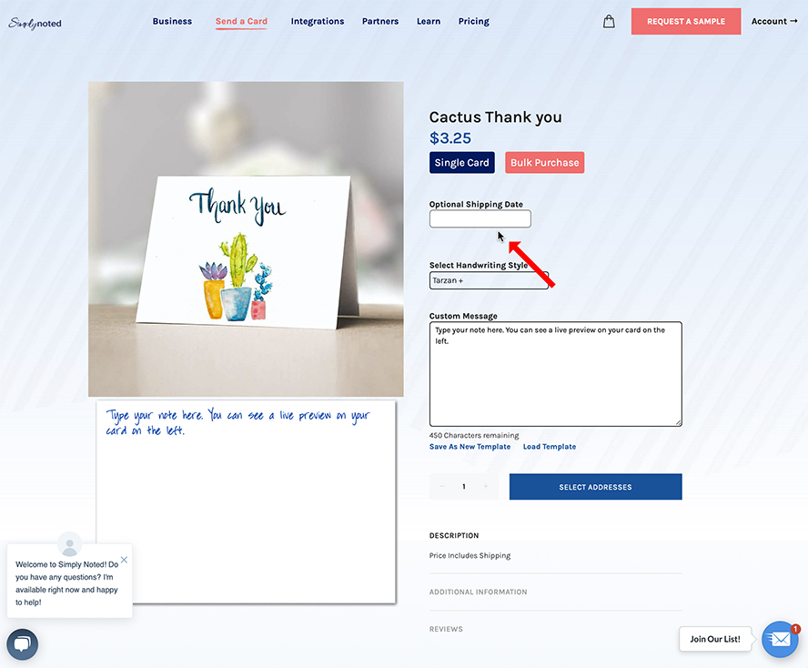 This is the ordering page for the Cactus Thank You card. There's an arrow pointing to the Optional Shipping Date field.