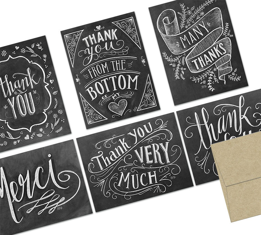 A collection of chalkboard-style thank you cards.