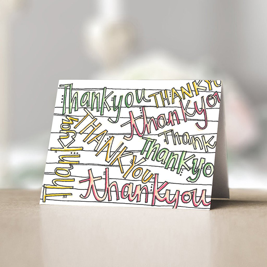 Thank you card covered in thank yous