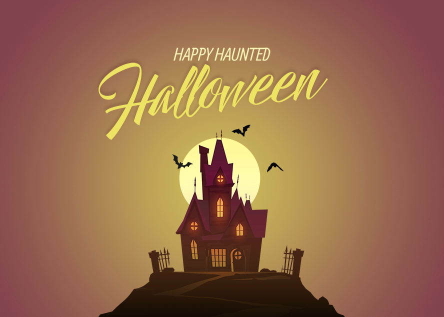 """A card with a haunted house that reads """"Happy Halloween""""."""